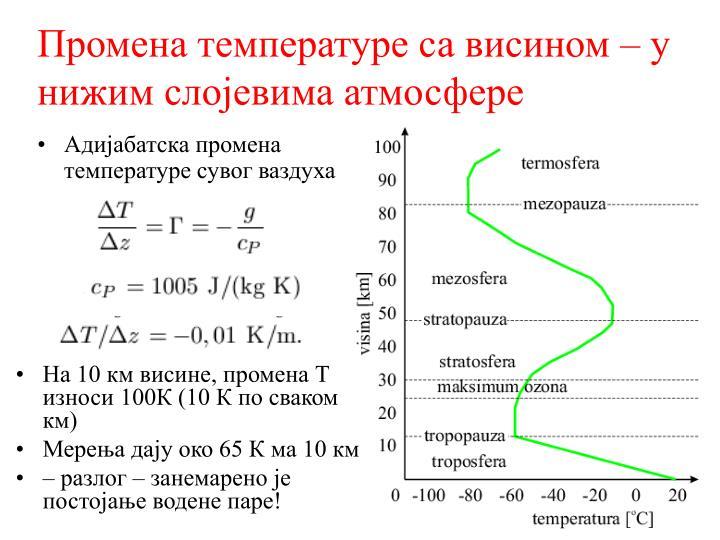 Промена температуре са висином – у нижим слојевима атмосфере