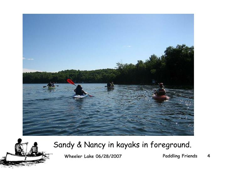 Sandy & Nancy in kayaks in foreground.