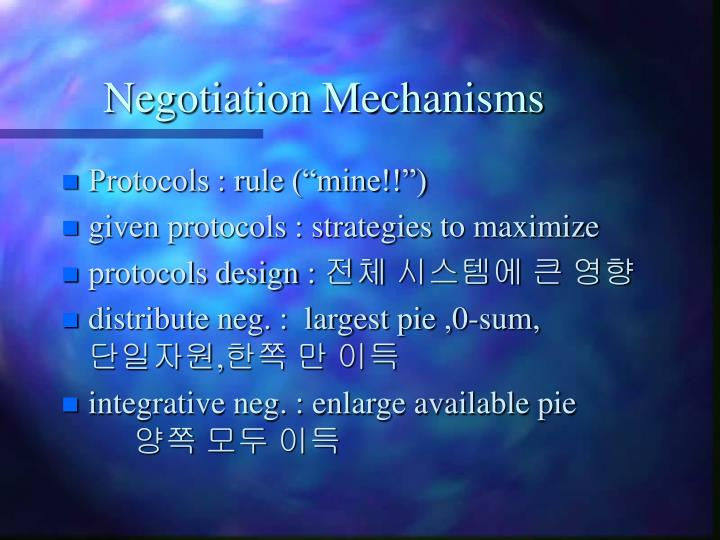 Negotiation Mechanisms