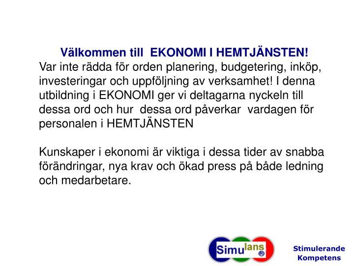 Välkommen till  EKONOMI I HEMTJÄNSTEN!
