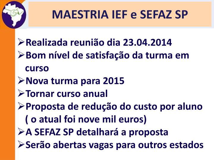 MAESTRIA IEF e SEFAZ SP