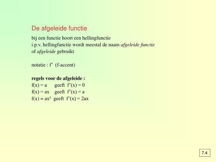 De afgeleide functie