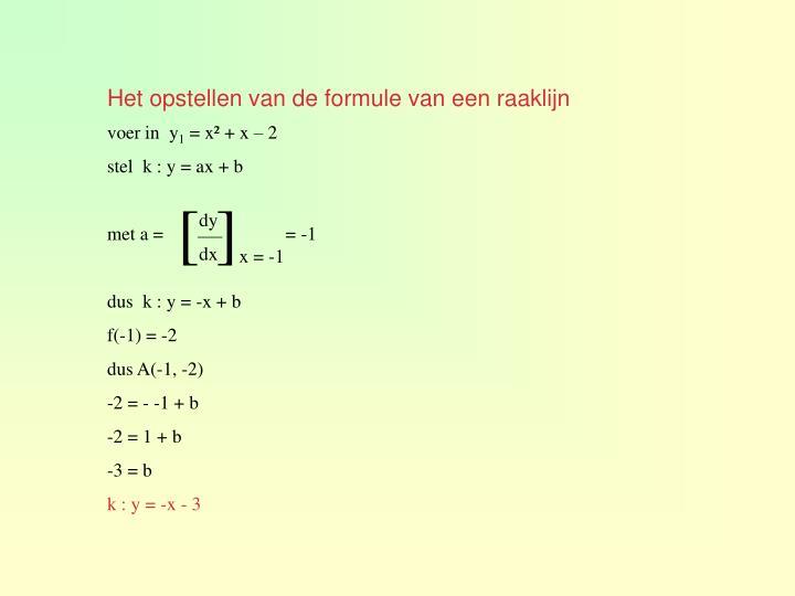 Het opstellen van de formule van een raaklijn