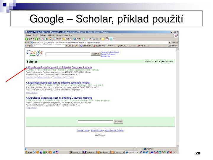 Google – Scholar, příklad použití