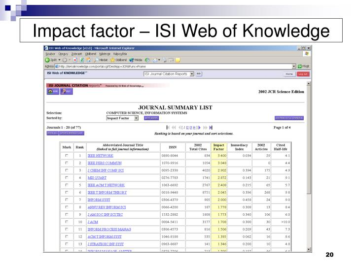 Impact factor – ISI Web of Knowledge