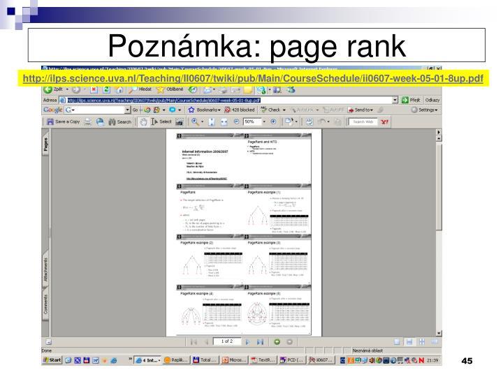Poznámka: page rank