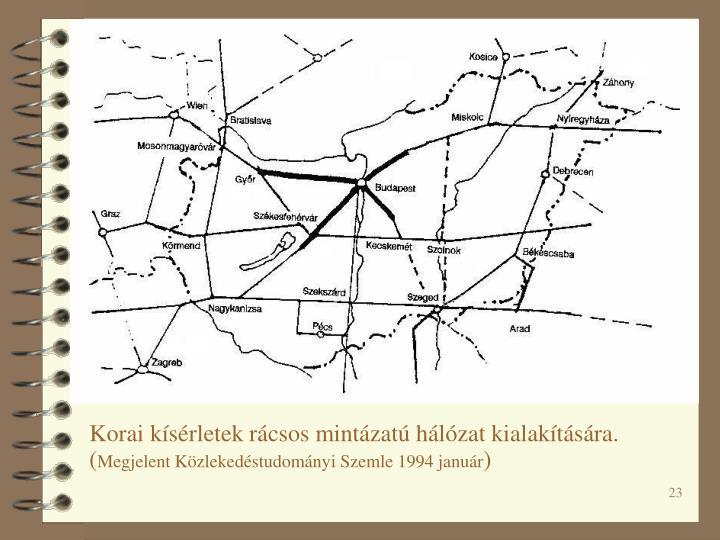 Korai kísérletek rácsos mintázatú hálózat kialakítására.