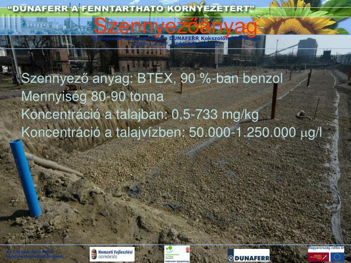 Szennyező anyag: BTEX, 90 %-ban benzol