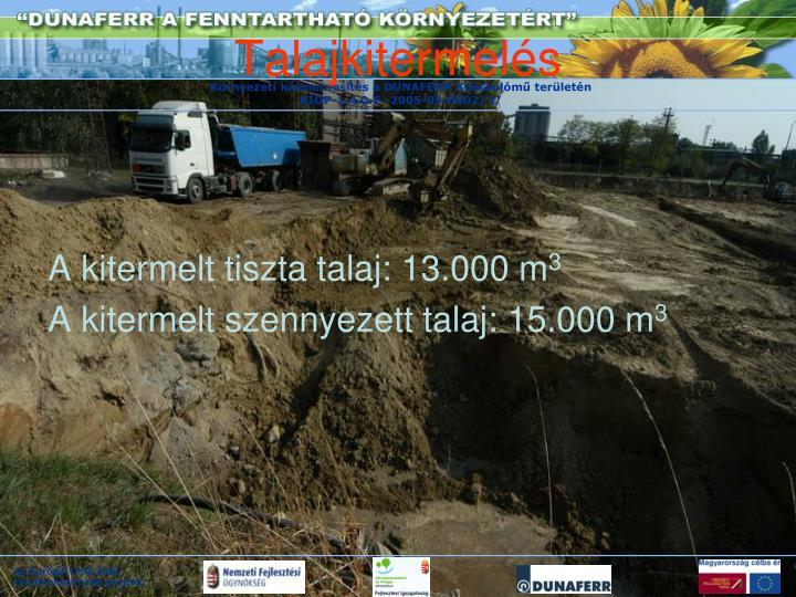A kitermelt tiszta talaj: 13.000 m