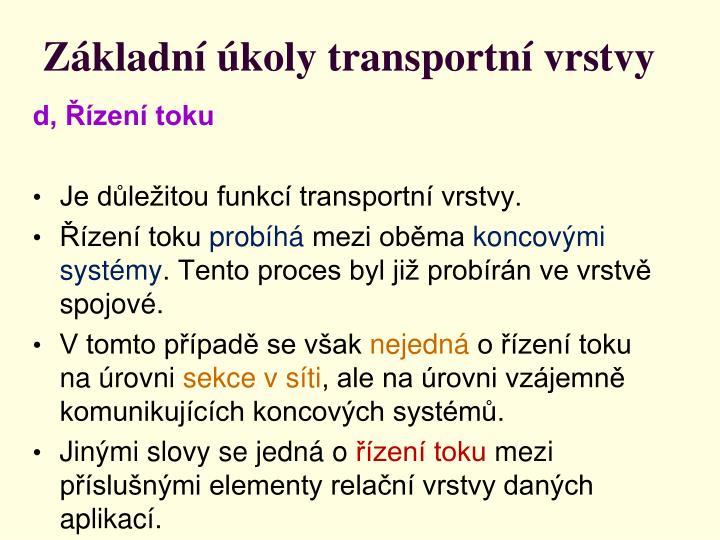 Základní úkoly transportní vrstvy