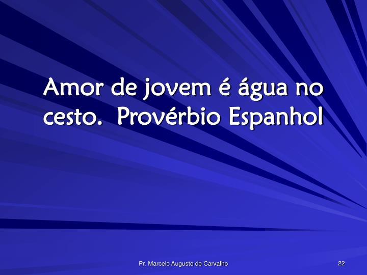 Amor de jovem é água no cesto.Provérbio Espanhol