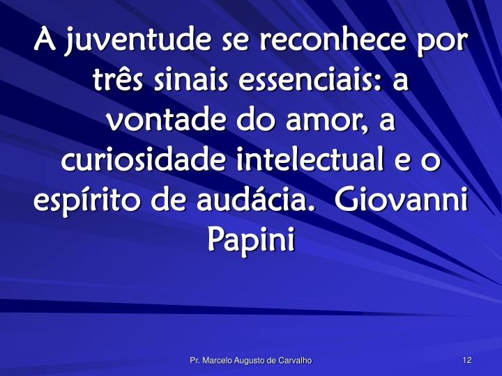 A juventude se reconhece por três sinais essenciais: a vontade do amor, a curiosidade intelectual e o espírito de audácia.Giovanni Papini