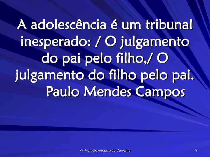 A adolescência é um tribunal inesperado: / O julgamento do pai pelo filho,/ O julgamento do filho pelo pai.Paulo Mendes Campos