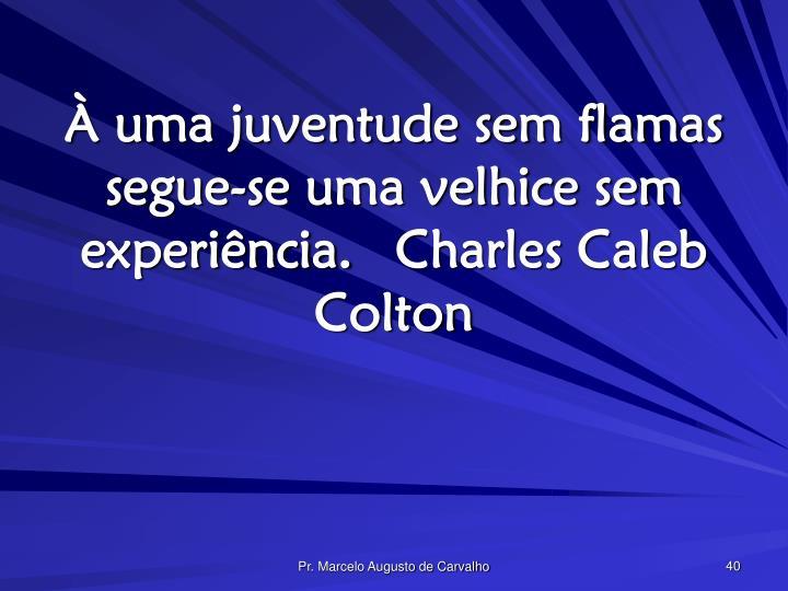 À uma juventude sem flamas segue-se uma velhice sem experiência.Charles Caleb Colton