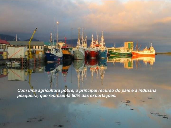 Com uma agricultura pobre, o principal recurso do país é a indústria pesqueira, que representa 80% das exportações.
