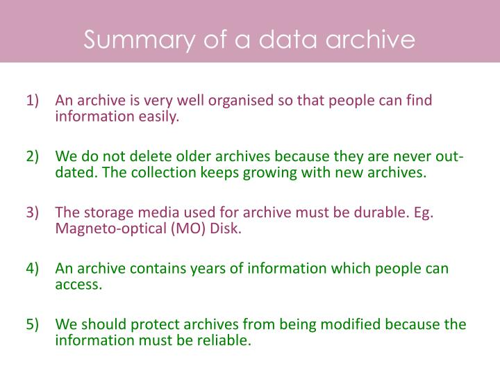 Summary of a data archive