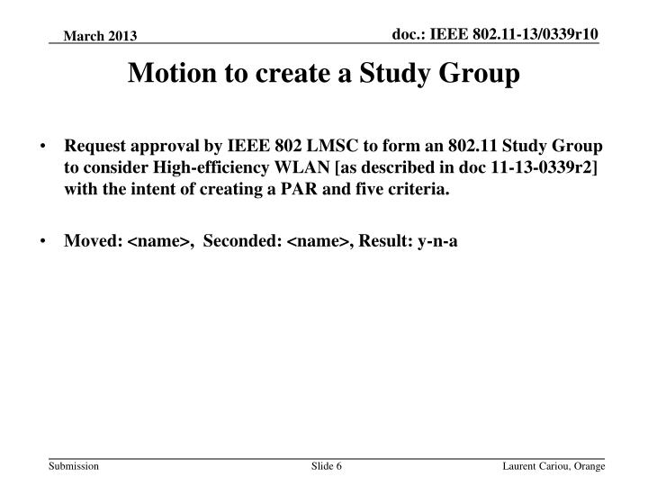 Motion to create a Study Group