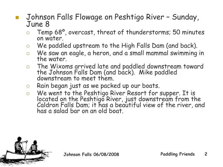 Johnson Falls Flowage on Peshtigo River – Sunday, June 8