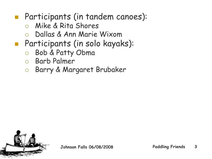 Participants (in tandem canoes):
