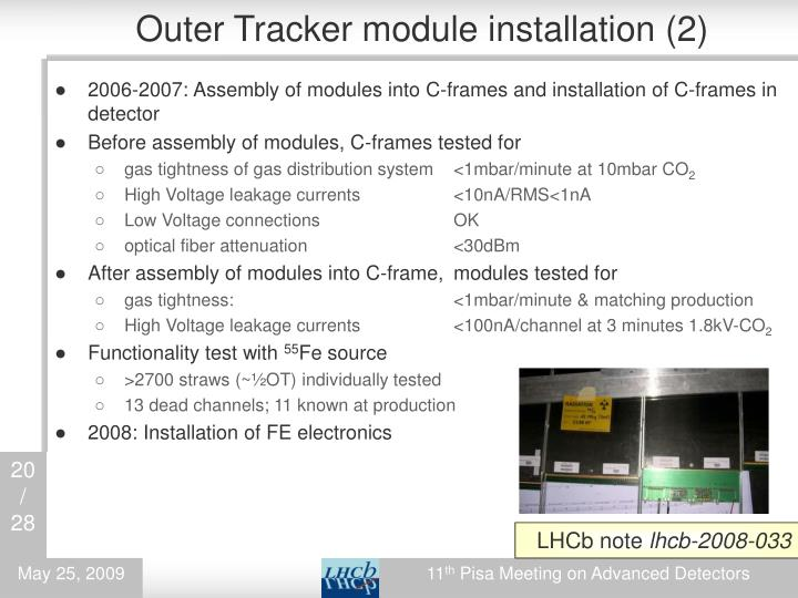 Outer Tracker module installation (2)
