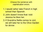 choose the sentence with capitalization errors