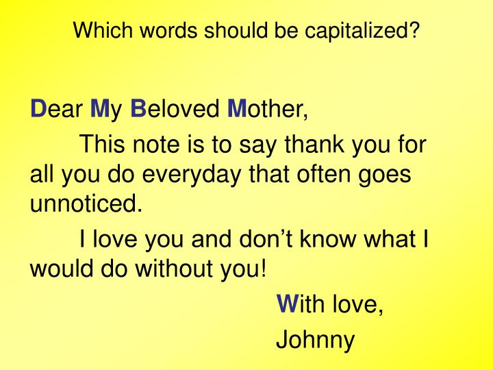 Which words should be capitalized?