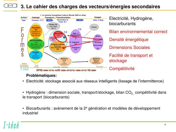 3. Le cahier des charges des vecteurs/énergies secondaires