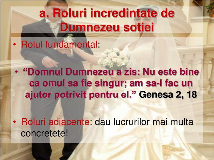 a. Roluri incredintate de Dumnezeu sotiei