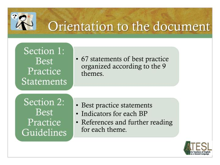Orientation to the document