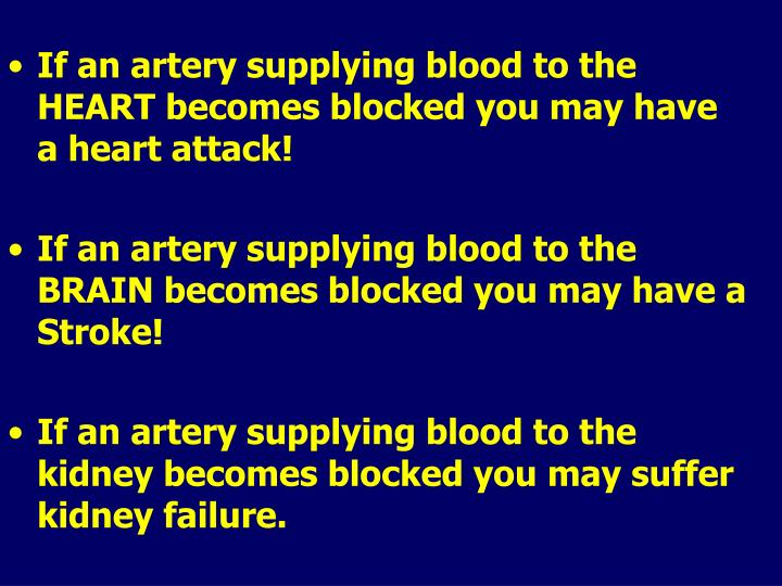 If an artery supplying blood to the HEART becomes blocked you may have a heart attack!