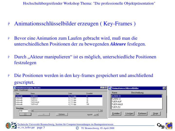 Animationsschlüsselbilder erzeugen ( Key-Frames )