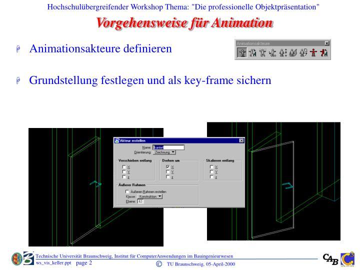 Vorgehensweise für Animation