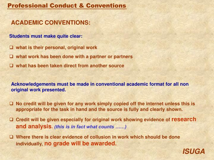 ACADEMIC CONVENTIONS: