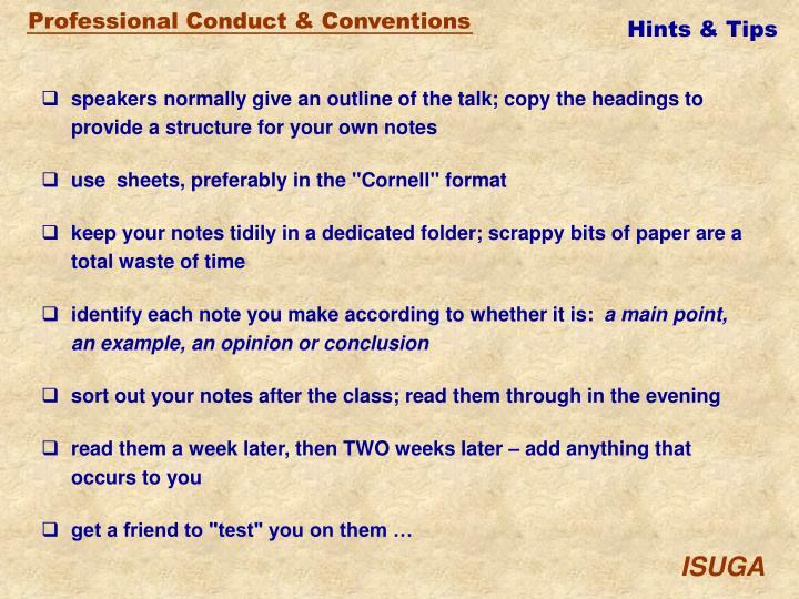 Hints & Tips