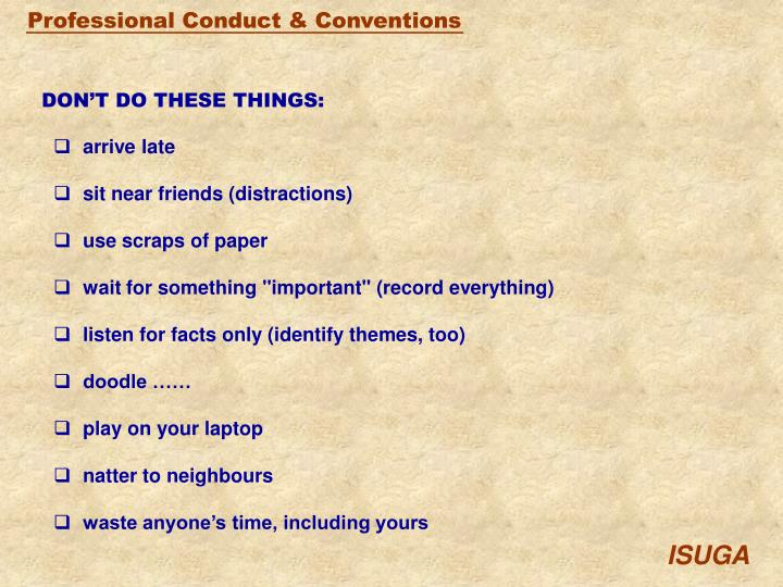 DON'T DO THESE THINGS: