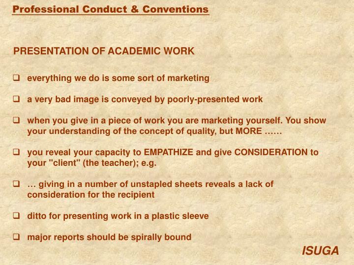 PRESENTATION OF ACADEMIC WORK
