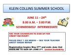 klein collins summer school