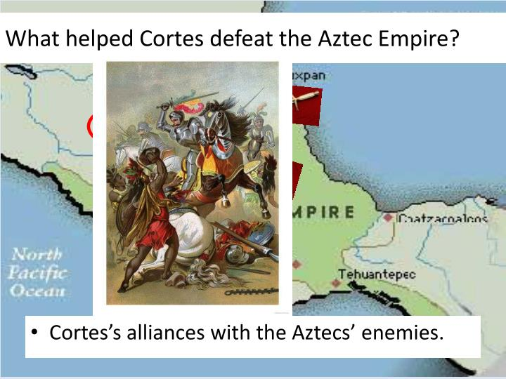 What helped Cortes defeat the Aztec Empire?