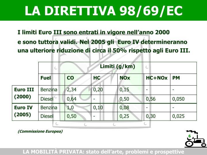 LA DIRETTIVA 98/69/EC