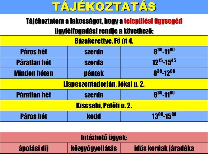 TÁJÉKOZTATÁS