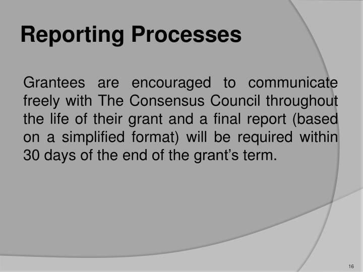 Reporting Processes