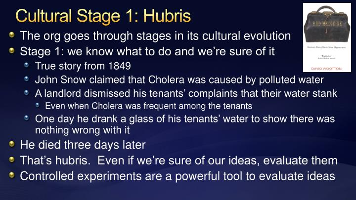Cultural Stage 1: Hubris