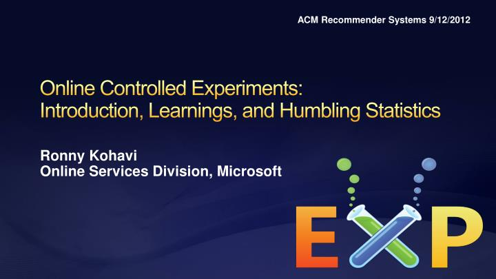 ACM Recommender Systems 9/12/2012