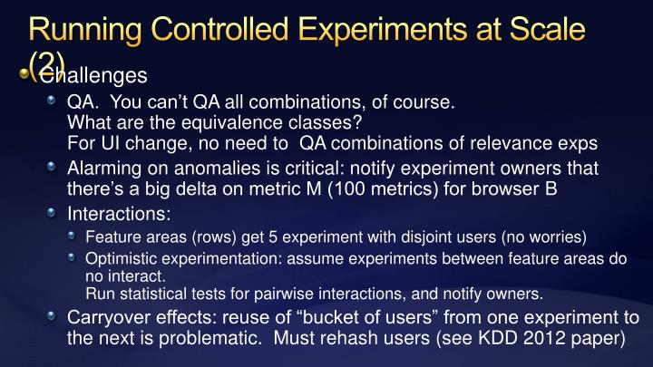 Running Controlled Experiments at Scale (2)