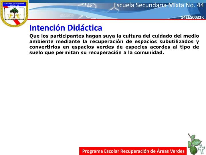Intención Didáctica