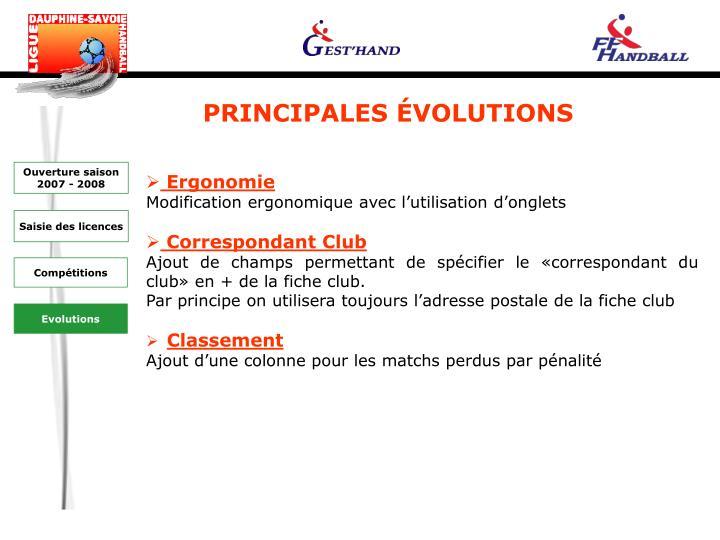 PRINCIPALES ÉVOLUTIONS