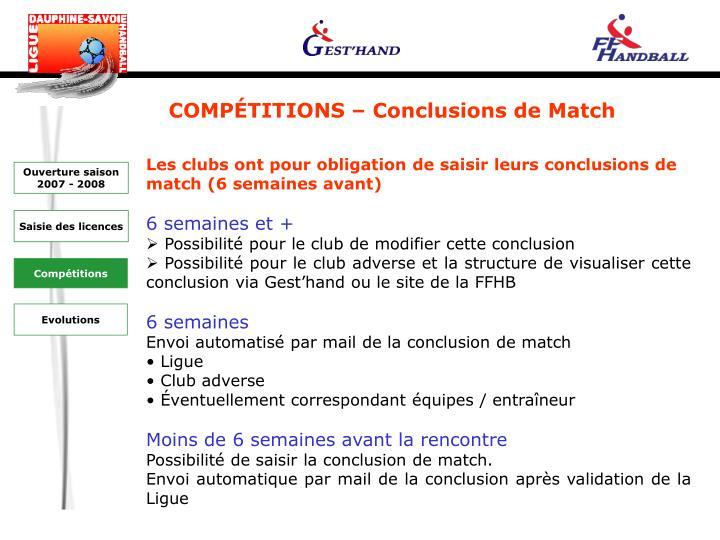 COMPÉTITIONS – Conclusions de Match
