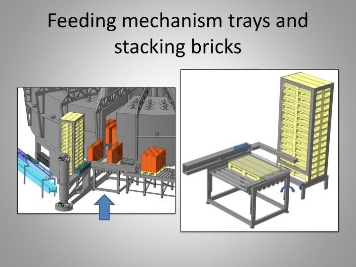 Feeding mechanism trays and stacking bricks