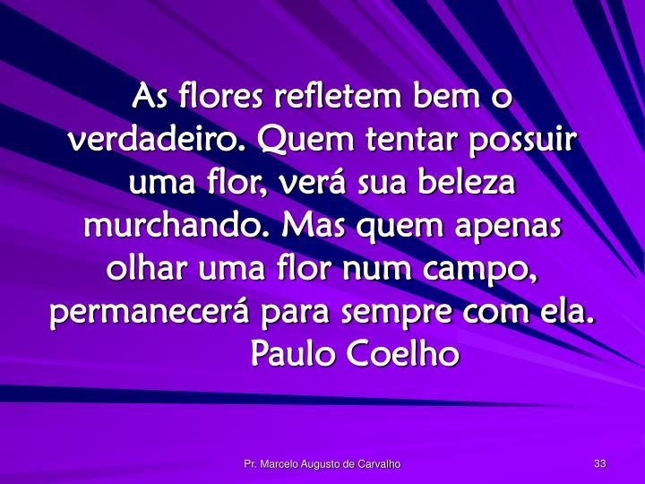 As flores refletem bem o verdadeiro. Quem tentar possuir uma flor, verá sua beleza murchando. Mas quem apenas olhar uma flor num campo, permanecerá para sempre com ela.Paulo Coelho