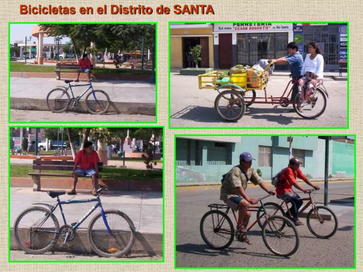 Bicicletas en el Distrito de SANTA